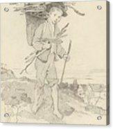 From Rudolf Hirth Frenes 1846 Grafentonna   Miltenberg 1916 Young Reisigsammlerinnen Acrylic Print