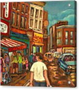 From Schwartz's To Warshaws To The  Main Steakhouse Montreal's Famous Landmarks By Carole Spandau  Acrylic Print by Carole Spandau