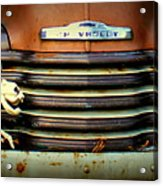 Front End Grille Of 1953 Chevrolet Advantage Design Truck With Dog Skeleton Acrylic Print