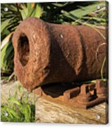 Front End Of An Old Rusty Cannon Lying On The Floor Acrylic Print