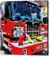 Front Of Fire Truck With Hose Acrylic Print
