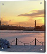 Frosty Evening In The City On The River Acrylic Print