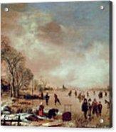Frozen Canal Scene  Acrylic Print by Aert van der Neer