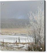 Frozen Fog Ranch Scene Acrylic Print