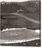Frozen Pond Camp Ground Panorama Acrylic Print