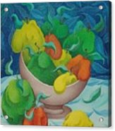 Fruit Bowl With Blue Background 2006 Acrylic Print