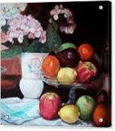 Fruit On Glass Dish II Acrylic Print