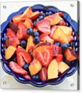 Fruit Salad In Blue Bowl Acrylic Print by Carol Groenen