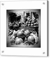 Fruit Seller Blue City Street India Rajasthan Bw 1b Acrylic Print