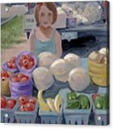Fruit Stand Girl Acrylic Print