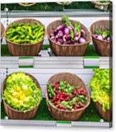 Fruits And Vegetables On A Supermarket Shelf Acrylic Print