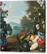 Fruits Flowers And Vegetables In A Landscape Acrylic Print
