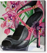 Fuchsia Orchid Colour Block Acrylic Print by Karon Melillo DeVega