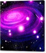 Fuchsia Pink Galaxy, Bright Stars Acrylic Print