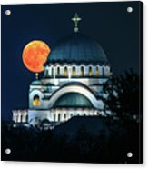 Full Blood Moon Over The Magnificent St. Sava Temple In Belgrade Acrylic Print