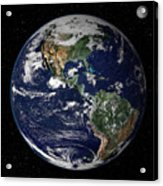 Full Earth Showing North And South Acrylic Print by Stocktrek Images