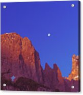 Full Moon At Dawn In The Dolomites Acrylic Print