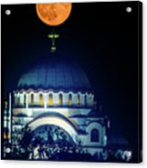 Full Moon Directly Over The Magnificent St. Sava Temple In Belgrade Acrylic Print