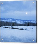 Full Moon Over A Field Of Snow Acrylic Print