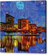 Full Moon Over Boston Acrylic Print