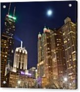 Full Moon Over Chi Town Acrylic Print