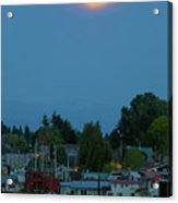 Full Moon Over Floating Homes On Columbia River Acrylic Print