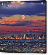 Full Moon Over New York City In October Acrylic Print