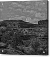 Full Moon Over Red Cliffs Bw Acrylic Print