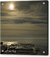 Full Moon Over Seawall Acrylic Print
