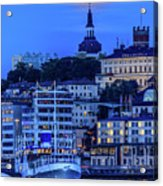 Full Moon Over The Katarina Church And Sodermalm In Stockholm Acrylic Print