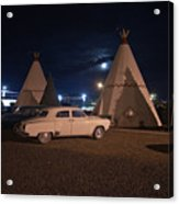 Full Moon Over Wigwam Motel Acrylic Print