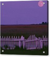 Full Moon Rising Over A Picket Fence Acrylic Print by Robert Madden