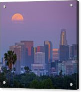 Full Moon Rising Over Downtown Los Angeles Skyline Acrylic Print