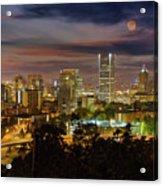 Full Moon Rising Over Downtown Portland Acrylic Print