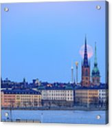 Full Moon Rising Over Gamla Stan Churches In Stockholm Acrylic Print