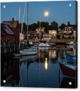 Full Moon Rising Over Motif  Number 1 Rockport Ma Moonrise Acrylic Print