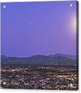 Full Moon Rising Over Silver City, New Acrylic Print
