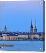 Full Moon Rising Over The Trio Of Gamla Stan Churches In Stockholm Acrylic Print