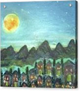 Full Moon Village Acrylic Print
