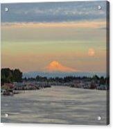 Full Moonrise Over Mount Hood Along Columbia River Acrylic Print