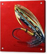 Fully Dressed Salmon Fly On Red Acrylic Print