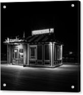 Funicular Ticket Booth At Night In Black And White Acrylic Print