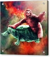 Funny Space Sloth Riding On Turtle Acrylic Print