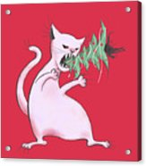 Funny White Cat Eats Christmas Tree Acrylic Print