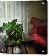 Furniture - Plant - Ivy In A Window  Acrylic Print by Mike Savad