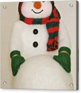 Fuzzy Snowman    Holiday Card 1 Acrylic Print