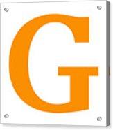 G In Tangerine Typewriter Style Acrylic Print