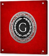 G - Silver Vintage Monogram On Red Leather Acrylic Print
