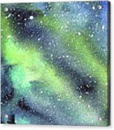Galaxy Watercolor Nebula Northern Lights Acrylic Print
