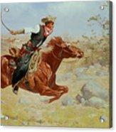 Galloping Horseman Acrylic Print by Frederic Remington